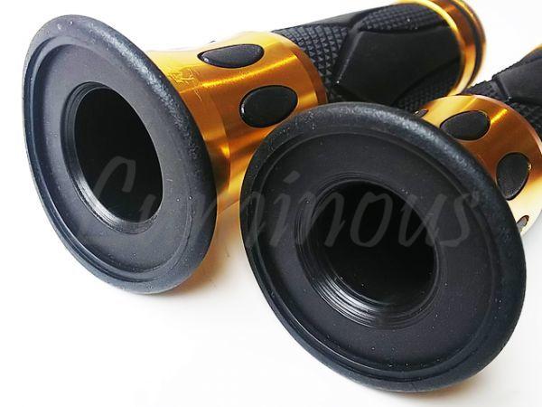 Dy アルミ ハンドル ラバー グリップ 22.2mm バーエンド 一体型 金 エイプ50 エイプ100 XR50 XR100 NS-1 NSR50 NSR80 NS50F NSF100 汎用_画像5