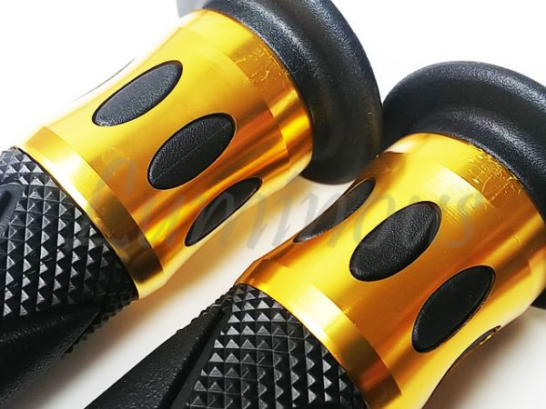 Dy アルミ ハンドル ラバー グリップ 22.2mm バーエンド 一体型 金 エイプ50 エイプ100 XR50 XR100 NS-1 NSR50 NSR80 NS50F NSF100 汎用_画像4