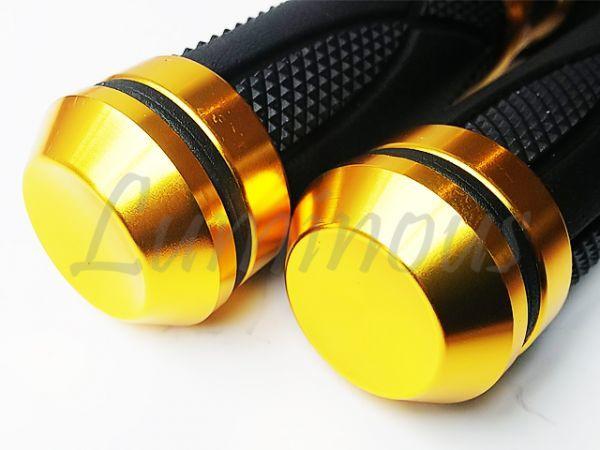 Dy アルミ ハンドル ラバー グリップ 22.2mm バーエンド 一体型 金 エイプ50 エイプ100 XR50 XR100 NS-1 NSR50 NSR80 NS50F NSF100 汎用_画像3