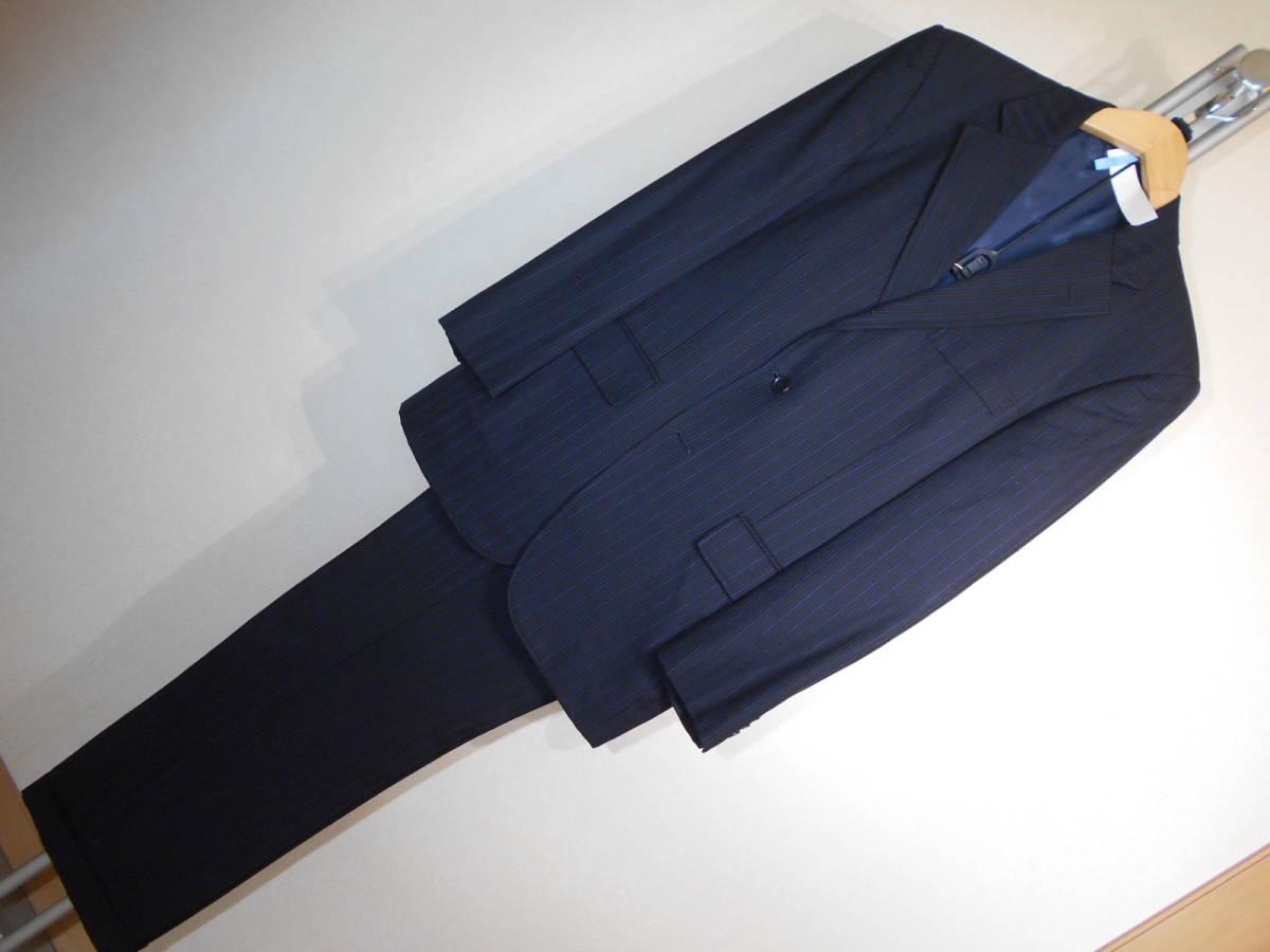 U370■ニューヨーカー★濃紺*青グレーストライプ★3B段返&総裏地スーツ■YA62