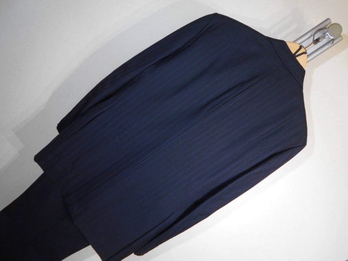 U370■ニューヨーカー★濃紺*青グレーストライプ★3B段返&総裏地スーツ■YA63