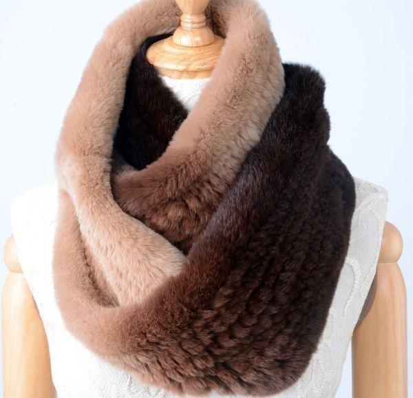 【送料無料】 柔らかな毛皮の レッキス編み込み 二重巻スヌード 毛皮 リアルファー/ファッション小物/マフラー