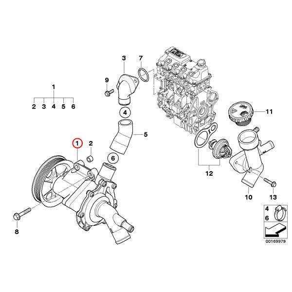 [6ヶ月保証] GRAF製 MINI ミニ R50 ウォーターポンプ W10(直4) エンジン用 11517513062 ワン One 1.6 新品 即日発送_画像2