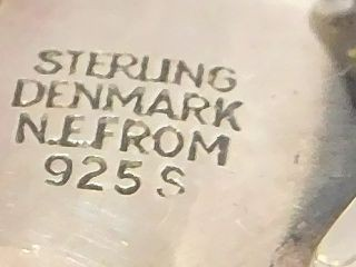 北欧 アンティーク デンマーク製 N.E.From 1950-60年代 琥珀 アンバー STERLING シルバー 銀製 リング 指輪 13.5号 /13025_画像9