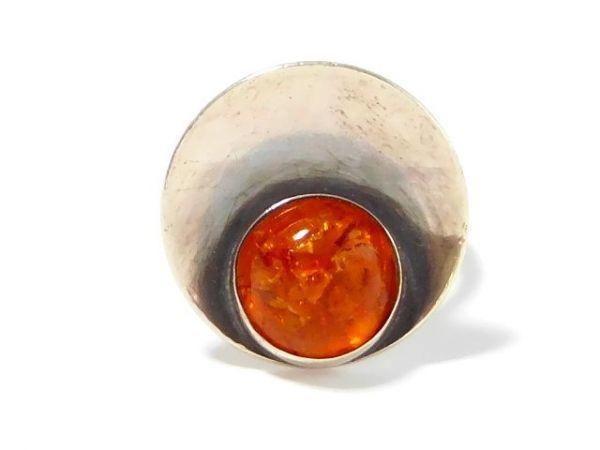 北欧 アンティーク デンマーク製 N.E.From 1950-60年代 琥珀 アンバー STERLING シルバー 銀製 リング 指輪 13.5号 /13025_画像2