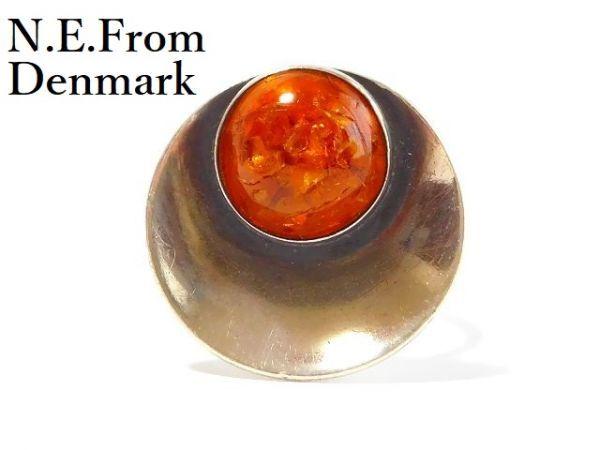 北欧 アンティーク デンマーク製 N.E.From 1950-60年代 琥珀 アンバー STERLING シルバー 銀製 リング 指輪 13.5号 /13025_画像1