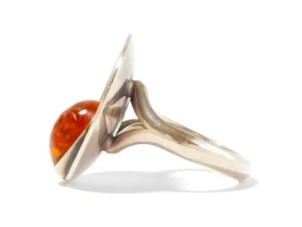 北欧 アンティーク デンマーク製 N.E.From 1950-60年代 琥珀 アンバー STERLING シルバー 銀製 リング 指輪 13.5号 /13025_画像6