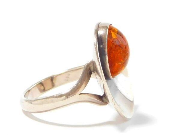 北欧 アンティーク デンマーク製 N.E.From 1950-60年代 琥珀 アンバー STERLING シルバー 銀製 リング 指輪 13.5号 /13025_画像7
