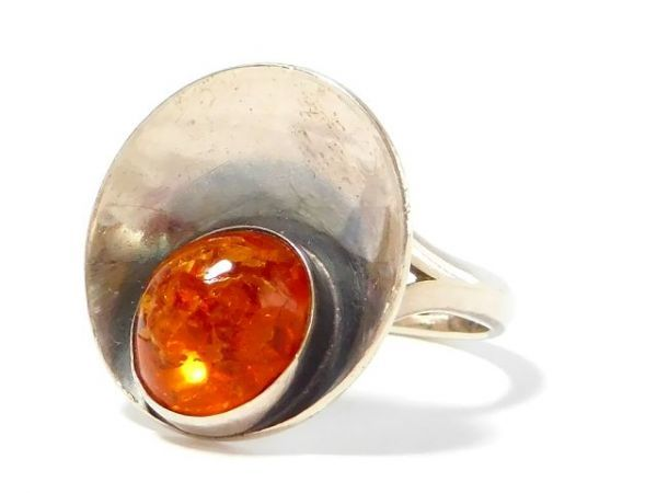 北欧 アンティーク デンマーク製 N.E.From 1950-60年代 琥珀 アンバー STERLING シルバー 銀製 リング 指輪 13.5号 /13025_画像3