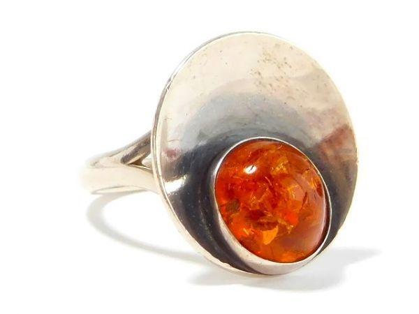 北欧 アンティーク デンマーク製 N.E.From 1950-60年代 琥珀 アンバー STERLING シルバー 銀製 リング 指輪 13.5号 /13025_画像4