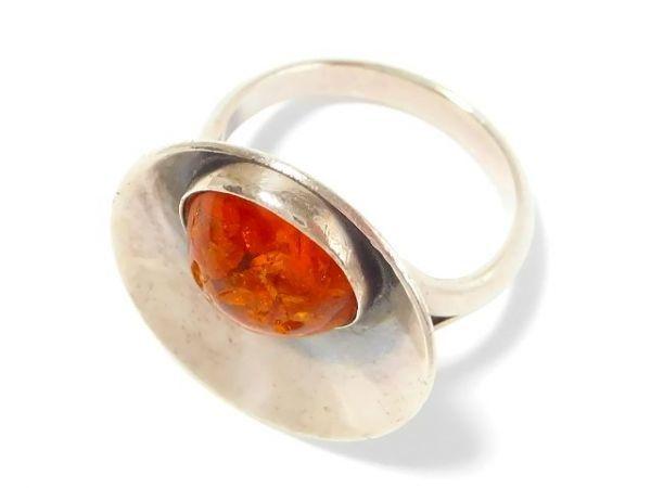 北欧 アンティーク デンマーク製 N.E.From 1950-60年代 琥珀 アンバー STERLING シルバー 銀製 リング 指輪 13.5号 /13025_画像5