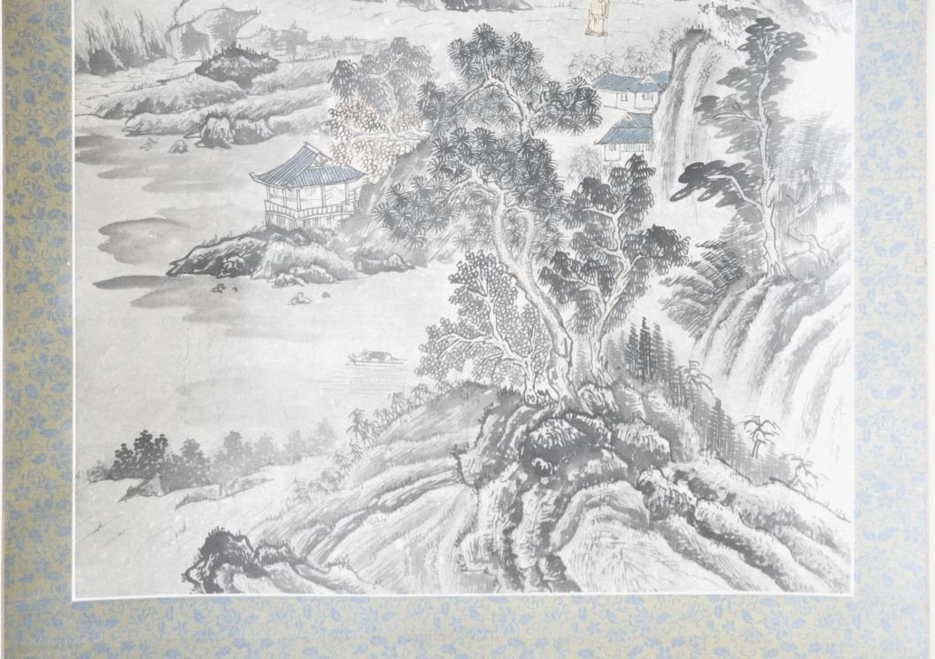 中国古玩 中国古美術 (1632~1717)山水図 掛け軸「深山古亭」(※写し)エステートセール(管理番号:30)_画像4