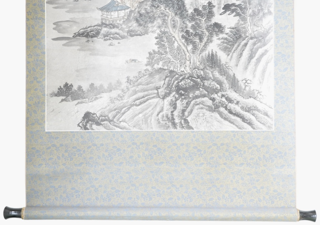 中国古玩 中国古美術 (1632~1717)山水図 掛け軸「深山古亭」(※写し)エステートセール(管理番号:30)_画像5