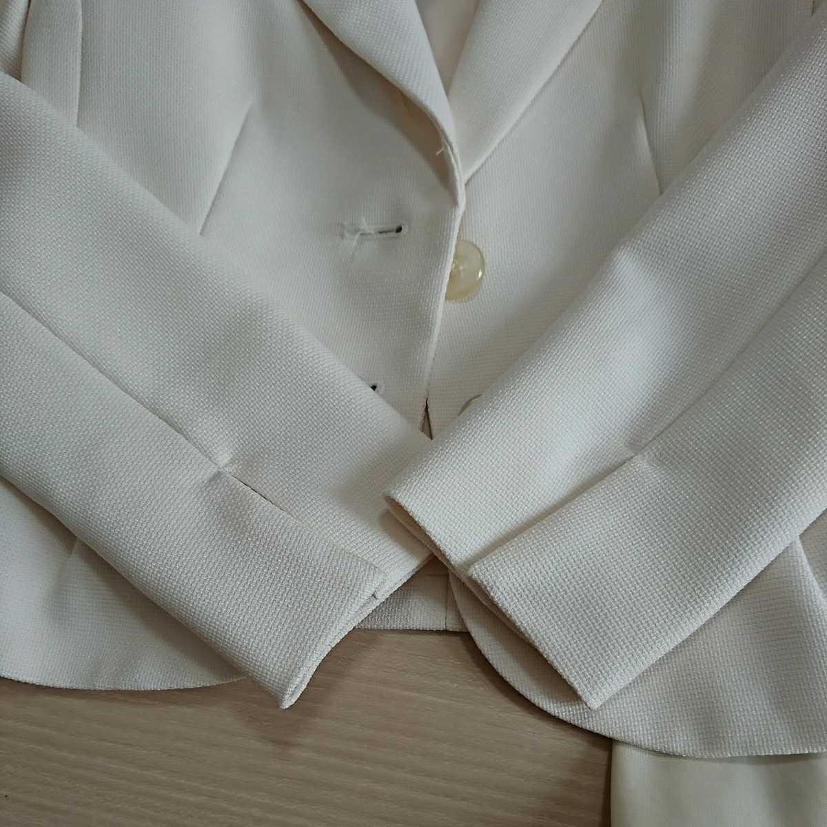送料込み フォーマルスーツ 7号 アイボリー ジャケット スカート ベージュ シフォン ワンピース 3点セット 入学式 七五三 結婚式 クーポン_画像8