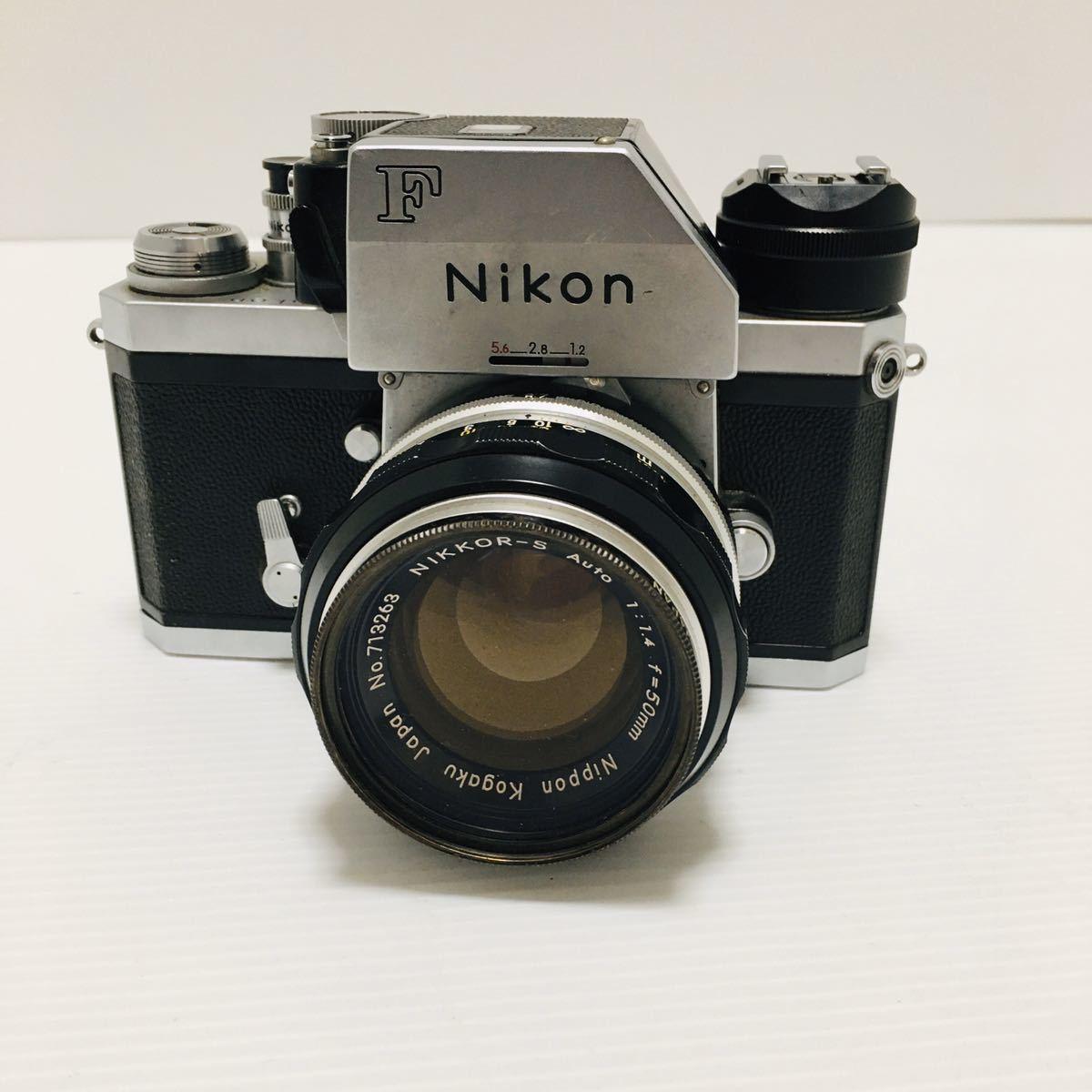 【動作未確認】Nikon F シルバー フィルムカメラ national3650 フラッシュ、レンズ付 NIKKOR-S 1:1.4 ジャンク_画像3