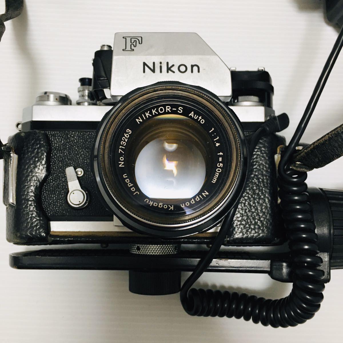 【動作未確認】Nikon F シルバー フィルムカメラ national3650 フラッシュ、レンズ付 NIKKOR-S 1:1.4 ジャンク_画像2