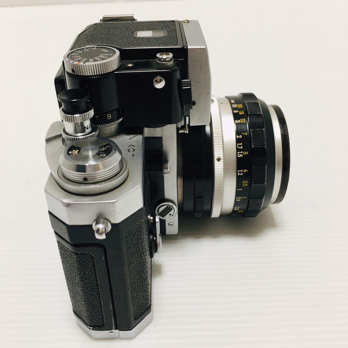 【動作未確認】Nikon F シルバー フィルムカメラ national3650 フラッシュ、レンズ付 NIKKOR-S 1:1.4 ジャンク_画像7