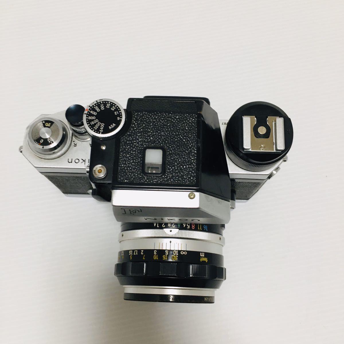 【動作未確認】Nikon F シルバー フィルムカメラ national3650 フラッシュ、レンズ付 NIKKOR-S 1:1.4 ジャンク_画像4