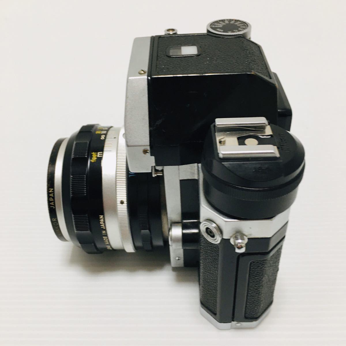【動作未確認】Nikon F シルバー フィルムカメラ national3650 フラッシュ、レンズ付 NIKKOR-S 1:1.4 ジャンク_画像6