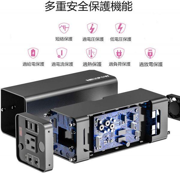 【新品・未使用】ポータブル電源 大容量48000mAh/178Wh 蓄電池 家庭用 PSE認証済 純正弦波 四つの充電方法 AC150W/DC/USB /Type-C出力_画像3