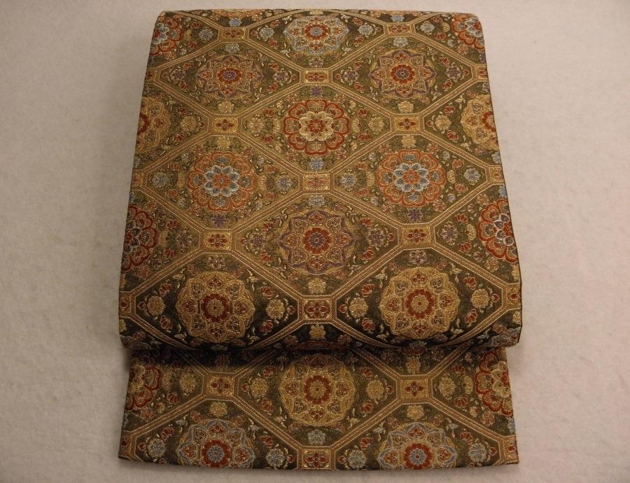 【帯喜楽】タ新4●袋帯●袋帯●美品●茶銅箔蜀江華文_茶銅箔の美しい袋帯です