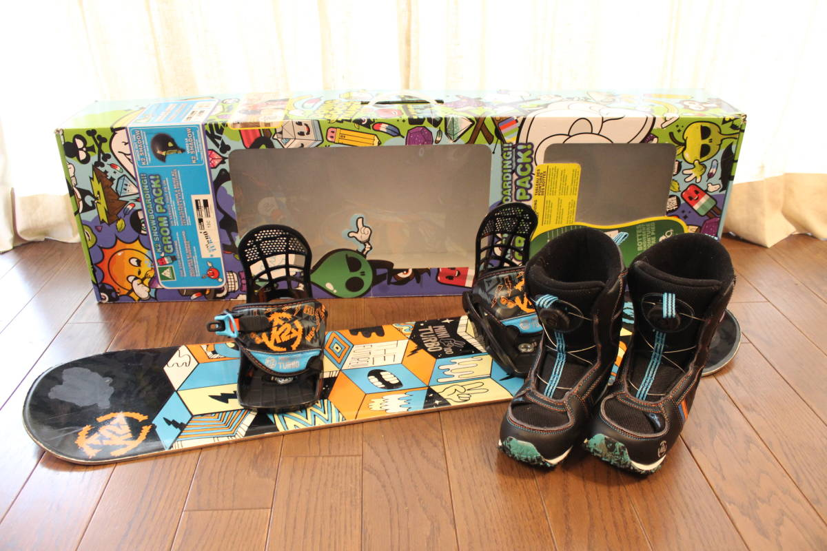 ☆送料無料 K2 スノーボード GROM PACK / MINI TURBO 3点セット 板100cm/ブーツ18.5cm(+2cm)