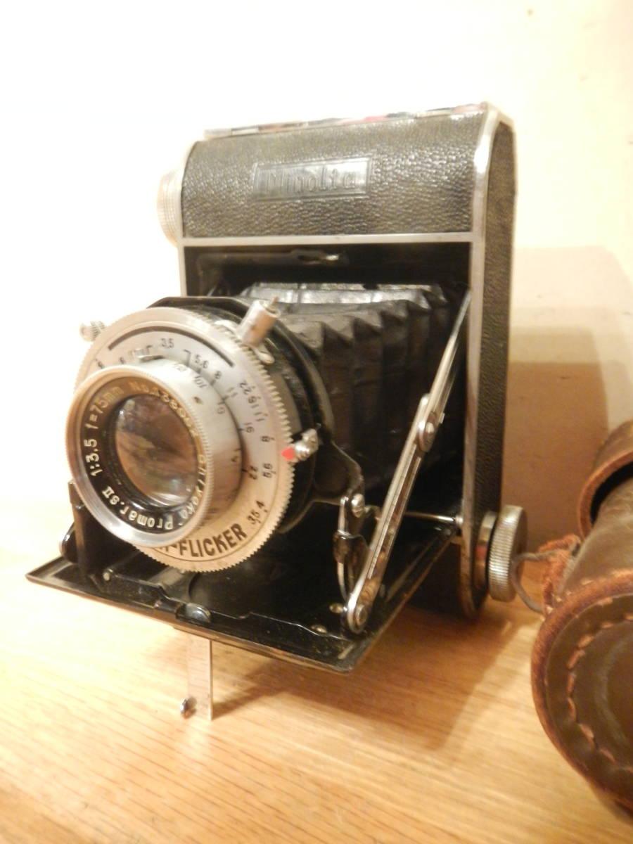 送料込 ミノルタMinolta 蛇腹式 中版カメラKONAN-FLICKER レンズchiyoko promar.sⅡ1:3.5f=75mm 中古現状_画像2