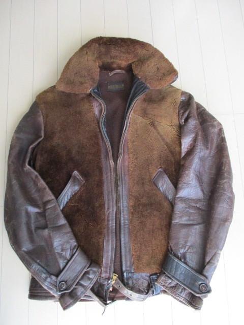 1930's-1940's ビンテージ 熊ジャン グリズリー ジャケット ヴィンテージ ホースハイド ハトメ 鳩目 馬革 ライダース ジャケット JKT