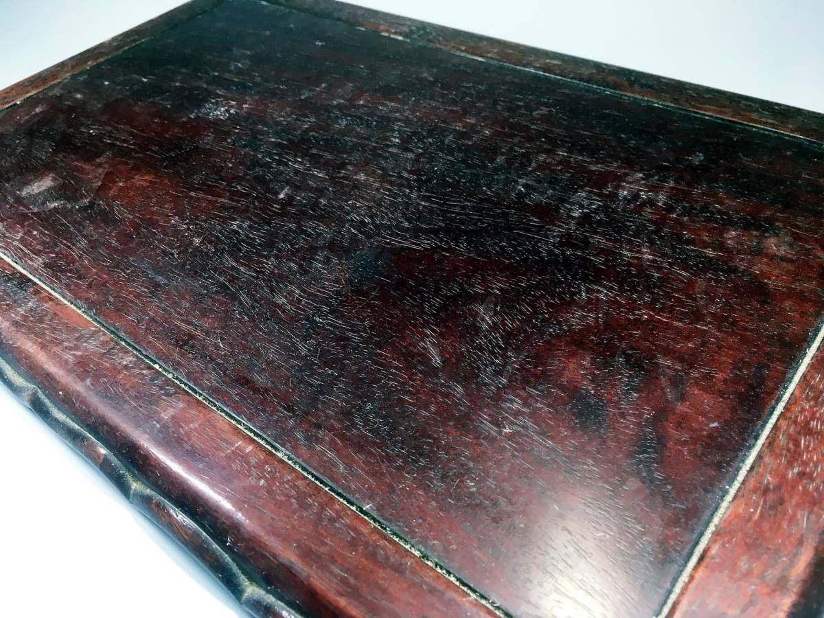 花梨 唐木 花台 香炉台 盆栽台 飾台 木製 長方形 中国美術 平台 時代 茶道具_画像5