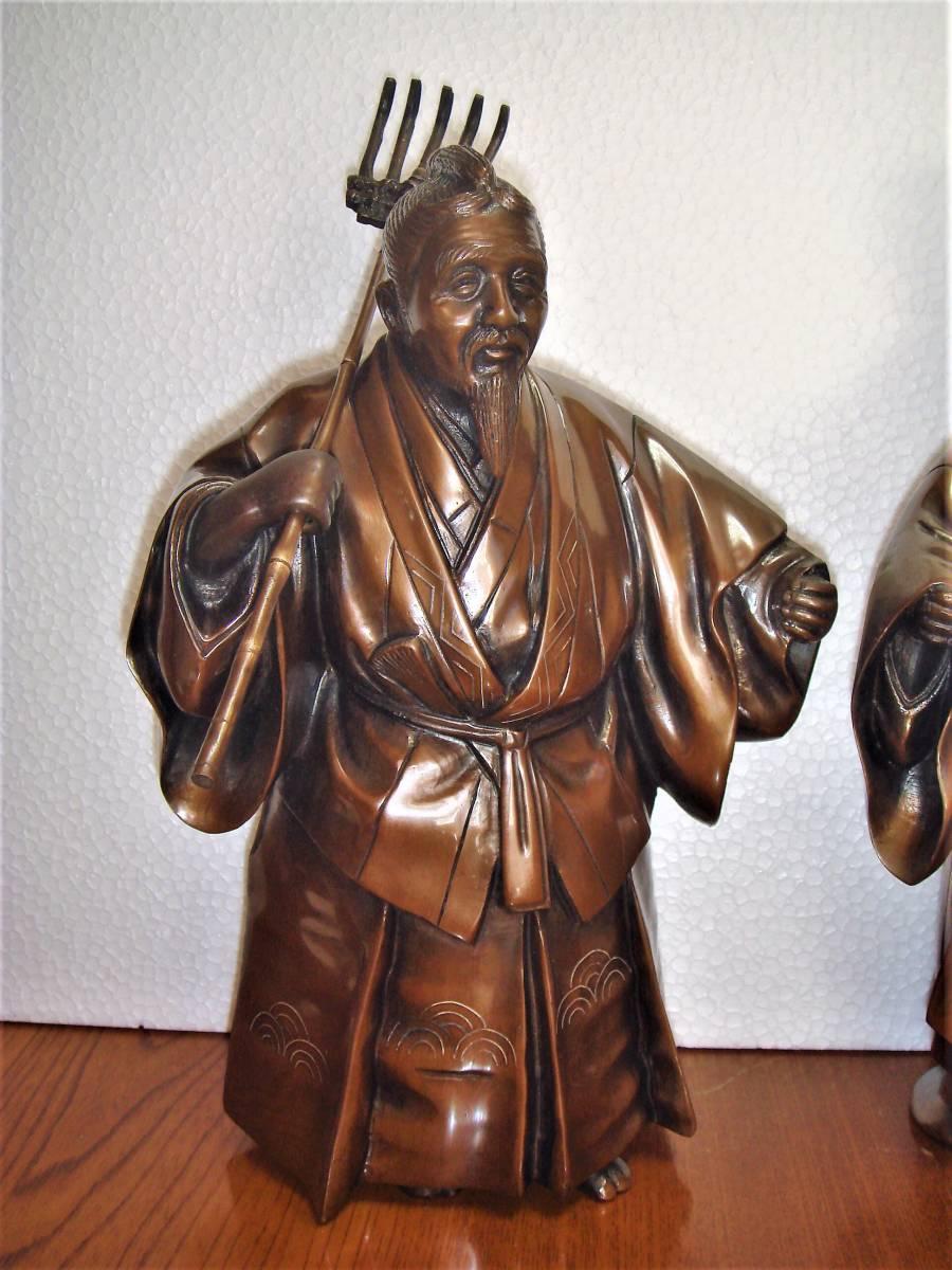 ★☆★ 越井栄山銘 鋳銅象嵌 高砂 置物 共箱 ★☆★_画像2