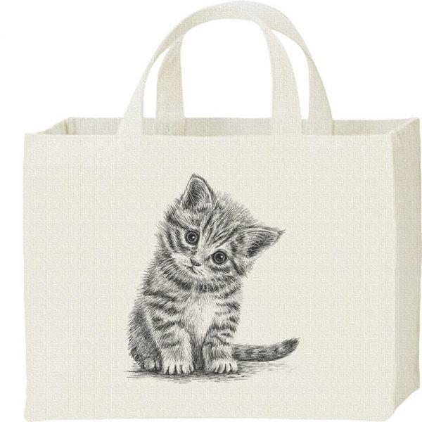 子猫(デッサン風 子ネコ)/キャンバスバッグ・スクエア・新品・メール便 送料無料_デッサン風 子ネコ/キャンバス
