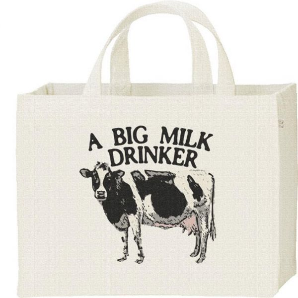 ホルスタイン牛(ミルク大好き)/キャンバスバッグ・スクエア・新品・メール便 送料無料_ホルスタイン牛/キャンバスバッグ