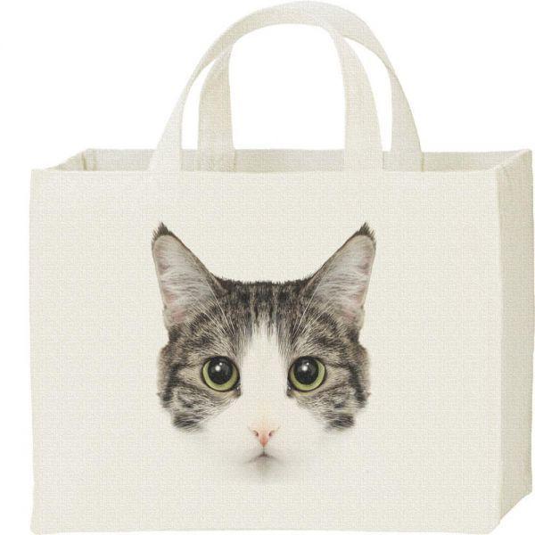 ミックス猫の顔(サバトラ白/雑種)/キャンバスバッグ・スクエア・新品・メール便 送料無料_猫の顔(サバ白/キャンバスバッグ