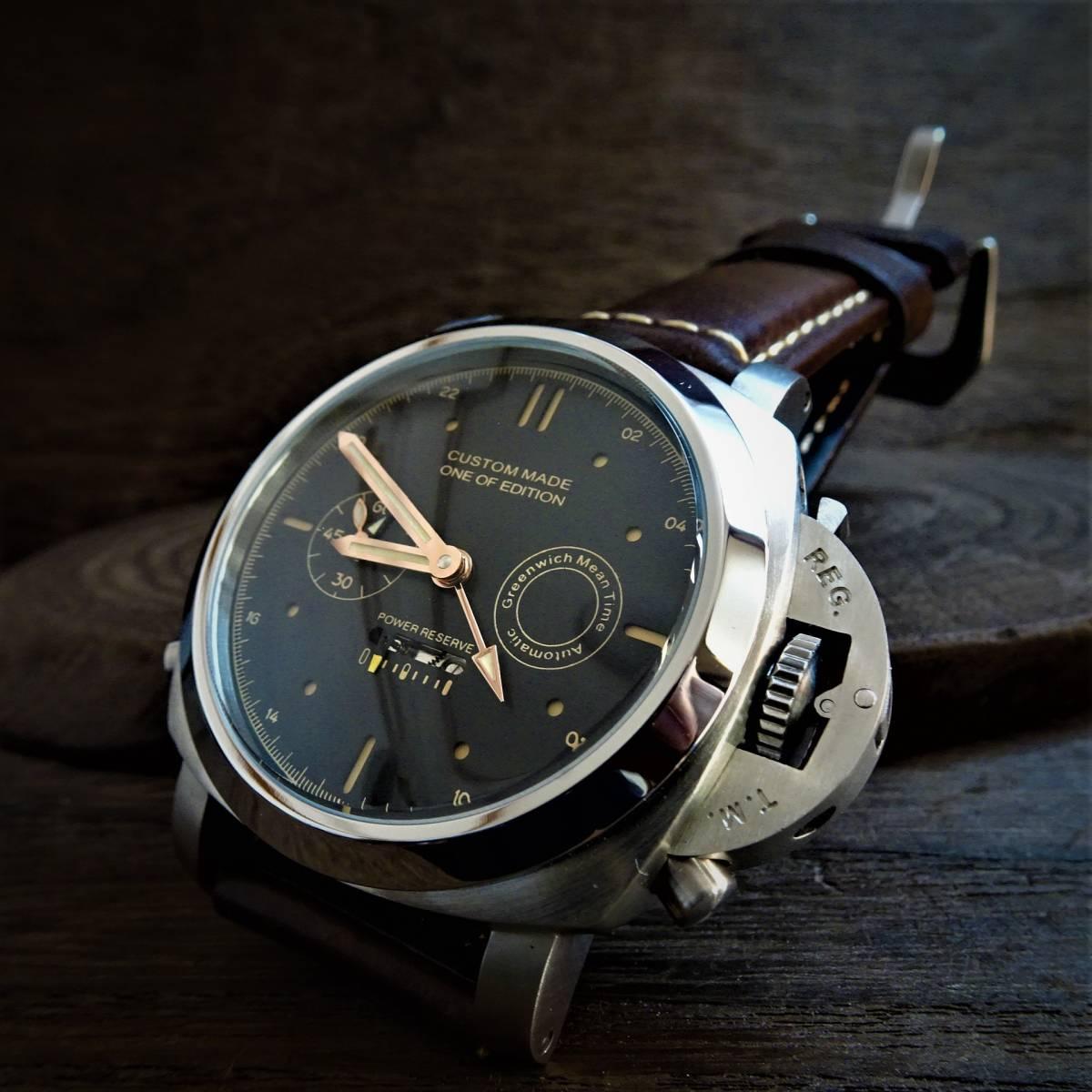 〓新品〓高級自動巻きGMT機械式腕時計★Custom Made One of Edition マリーナミリターレ★316Lステンレスケース レトロ本革ベルト