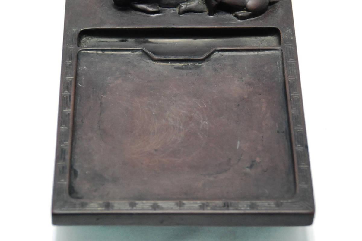 縁起がいい親子水牛の硯 2.0kg 古硯 書道具 古端溪 端渓硯 骨董 中国古美術 _画像6