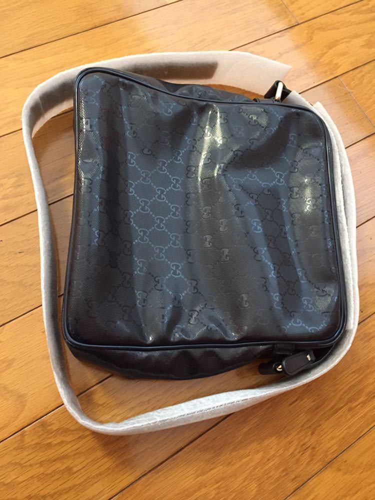 送料無料 ショルダーバッグ グッチ GUCCI 紙袋 布袋付き ネイビー エナメル素材 GG柄 使用数回 美品 バッグ 本物