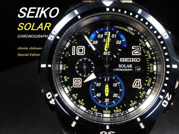 【1円 Jimmie Johnson 限定モデル】SEIKO セイコー SOLAR ソーラー クロノグラフ 海外 メ