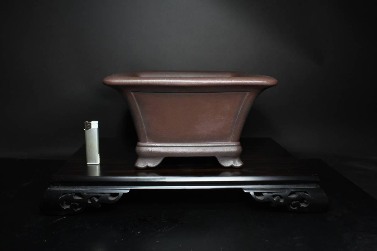 【茉莉園】◆山秋 松泉焼◆【紫泥外縁額面正方鉢】 幅30.5cm 奥行30.5cm 高さ17cm