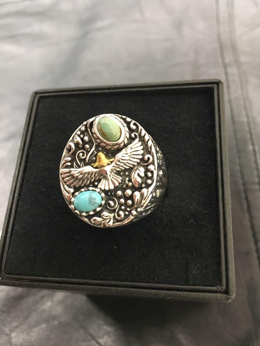 新品 純銀製 シルバー925 金頭イーグル ターコイズ リング 23號 指輪 天然石 #23 トルコ石 インディアンジュエリー