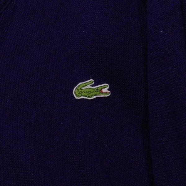 LACOSTE IZOD ラコステ アイゾッド 80's 旧タグ ロゴ Vネック アクリル ニット セーター 紺 S 美品_画像5