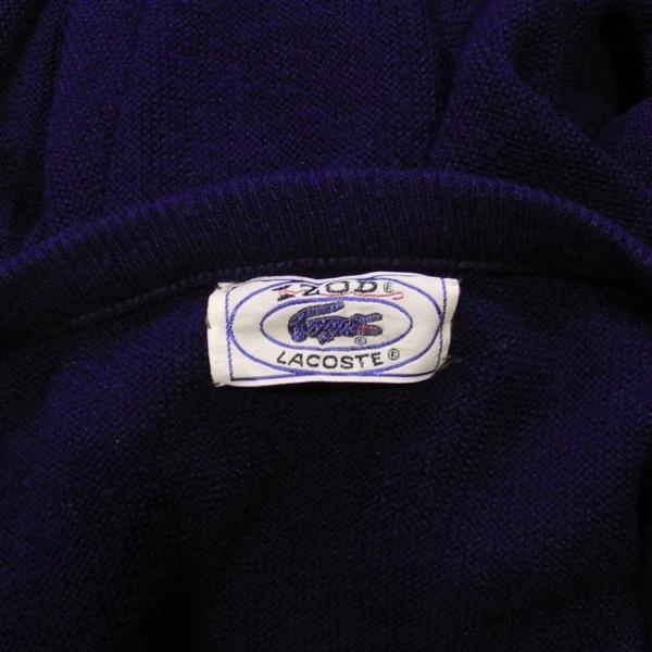 LACOSTE IZOD ラコステ アイゾッド 80's 旧タグ ロゴ Vネック アクリル ニット セーター 紺 S 美品_画像4