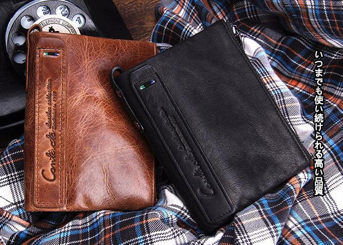 BQ1402財布メンズ革二つ折り財布レザー折財布革財布本革牛革 コンパクト財布 人気 男性用 2つ折り 財布 小銭入れ レザー大容量_画像2