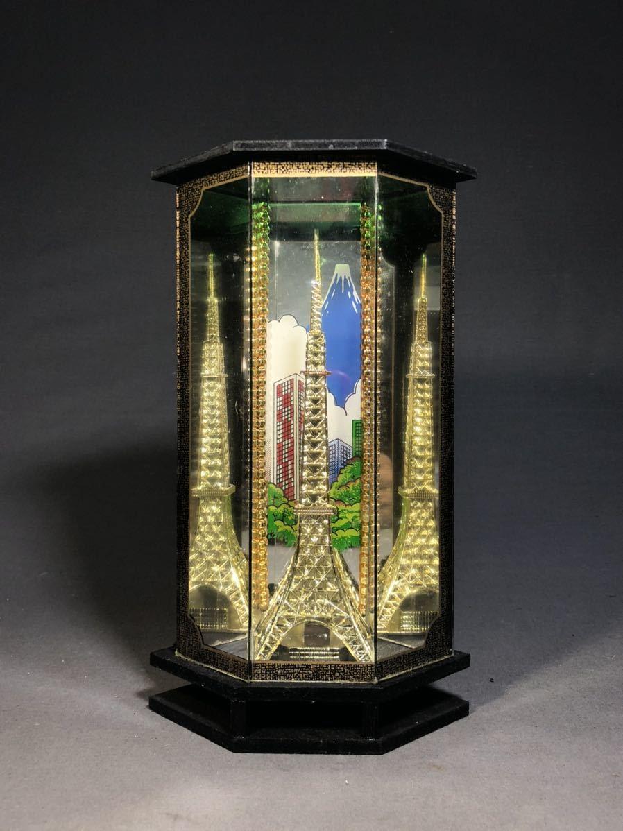 昭和レトロ ガラスケース 東京タワー TOKYO 富士山 郷土玩具 日本人形 土産物 当時物 着物 観光名所 ショーケース インテリア 木製台