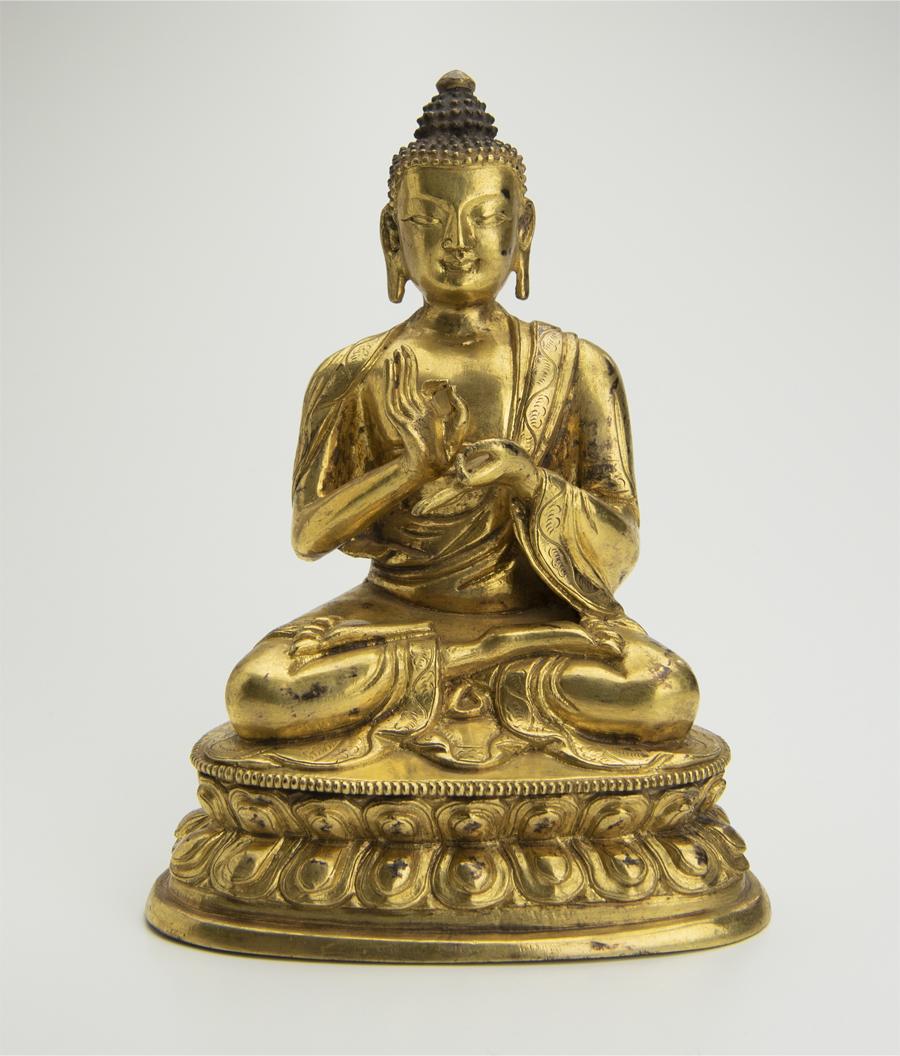 清 銅鍍金釈迦牟尼坐像 中国 古美術 仏像 铜鎏金释迦牟尼坐像_画像1
