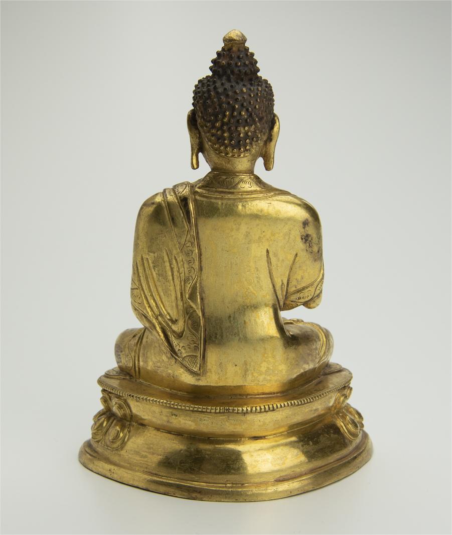 清 銅鍍金釈迦牟尼坐像 中国 古美術 仏像 铜鎏金释迦牟尼坐像_画像3