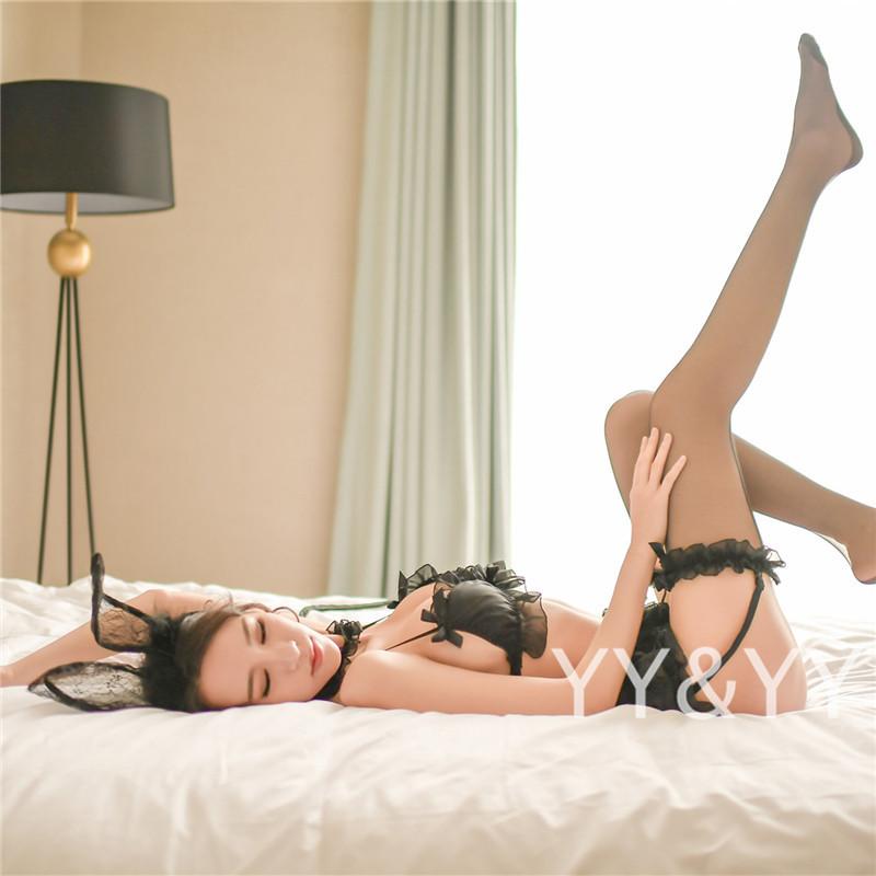 W152黒 コスプレ メイド服 小悪魔 セクシーランジェリー ベビードール Tバック 下着 部屋着 パジャマ スリップ Tバック_画像10