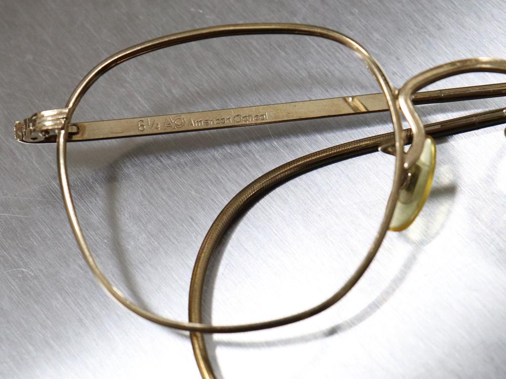 レア☆1930年代 American Optical アメリカンオプティカル FUL-VUE フルビュー 希少アンティークゴールド メガネ ビンテージ眼鏡_画像3