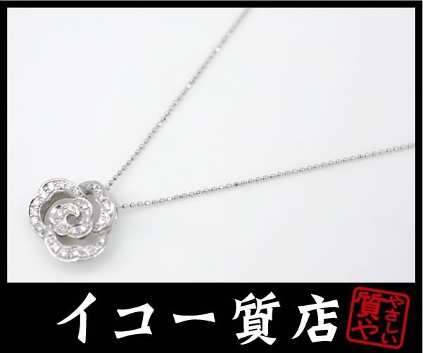 イコー質店 K18WG ダイヤ合計0.28ct入り ローズモチーフ ペンダントネックレス 50cm 美品 RY5030_画像1