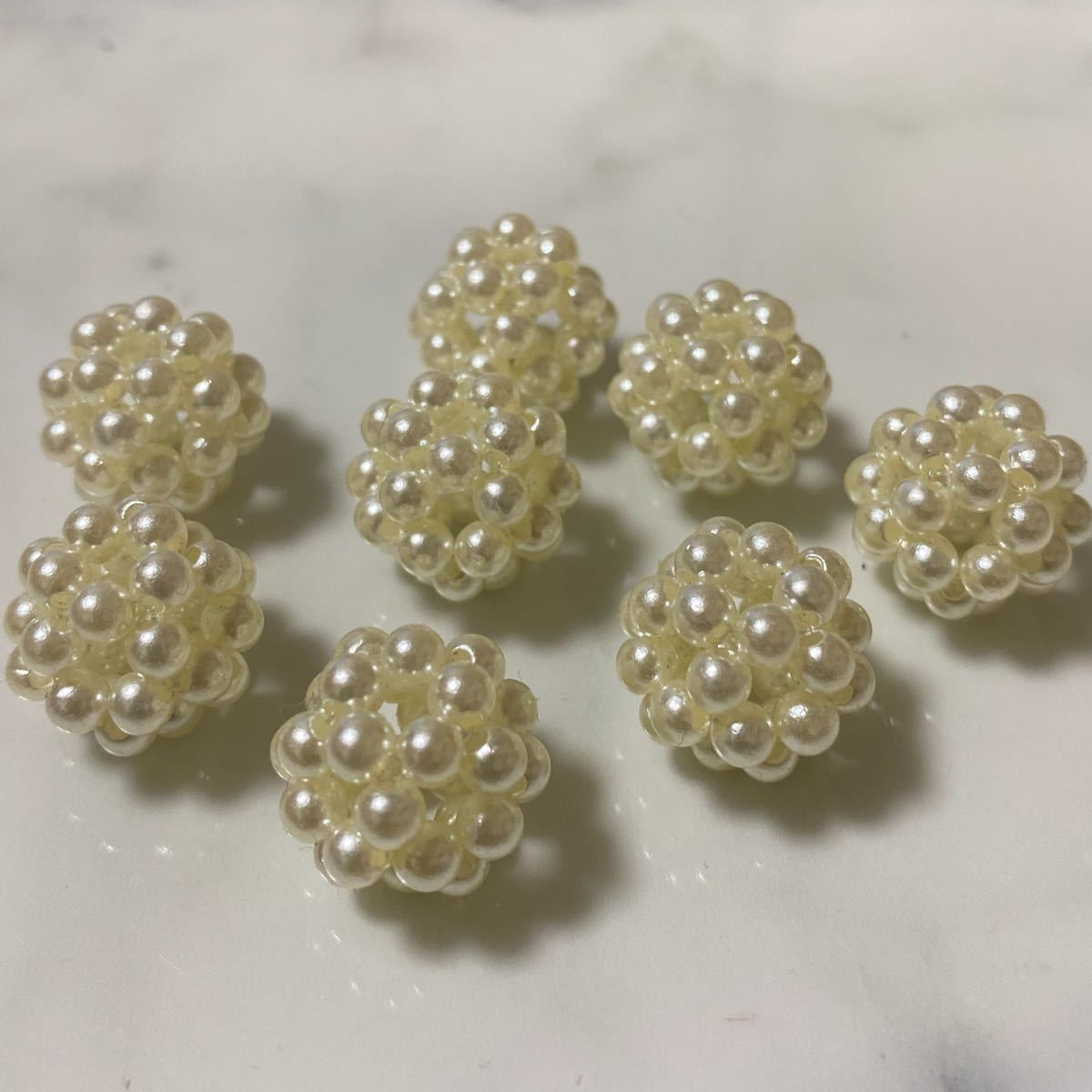 パール編みボール 15mm 8点  ビーズ パールビーズ ハンドメイド
