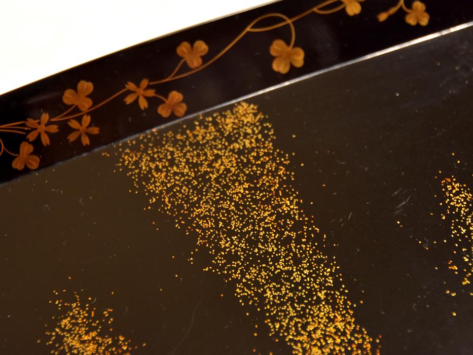 花唐草蒔絵 脚付膳(盆)3枚 懐石 天然木 本漆 漆器 漆芸 漆工芸 茶道具 茶懐石 美品 b7318n_画像5